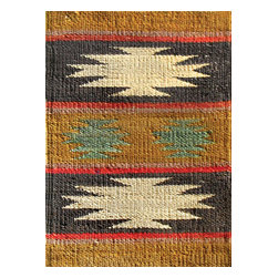 Rugsville - Rugsville Two Stars Gold Black Jute  Rug 13602-2x3 - Rugsville Braided carpets are known for their beauty, durability and strength. Braided carpets also called as flat woven carpets, utilize warp and weft strands as a part of the foundation and in creating patterns. These carpets are mainly made up of materials like wool, cotton, jute etc. but the jute material is preferred to other types of materials. Virtually all types of colors are used in these carpets. Design theme is derived from the natural surroundings, geometrical and floral patterns, cultural and historical traditions.