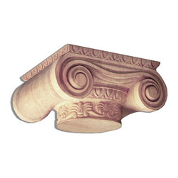 """Inviting Home - Maryland Capital - oak wood - wood capital in white oak 11-3/4""""W x 9-7/8""""D x 5-5/8""""H bottom: 6"""" diameter Wood capitals are hand carved in deep relief design from premium selected North American hardwoods such as alder beech cherry hard maple red oak and white oak. They are triple sanded and ready to accept stain or paint. Hardwood capitals are a great way to enhance any pilaster or column."""