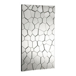 Howard Elliott - Webb Mosaic Mirror - This rectangular art deco styled mirror features a 3-D mosaic of mirrored glass panels resembling a flagstone walkway.