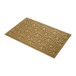 Bungalow Flooring - 24 in. L x 36 in. W Gold Waterguard Stained Glass Mat - Made to order. Stained glass design traps dirt, resists fading, rot and mildew. Indoor and outdoor use. 24 in. L x 36 in. W x 0.5 in. H