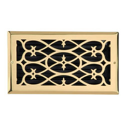 Renovators Supply - Heat Registers Brass Plated Steel Heat Register - Heat Register. Control & SAVE on energy bills with registers that let you control every room��_�s airflow with their infinitely adjustable louver assembly (damper box). Crafted of brass plate over 3mm thick steel core these registers mount to floors or ceilings, damper box cannot be locked in place. Polished and lacquered to prevent tarnishing their traditional scroll design and durable brass plated steel are of superior quality workmanship. Mounting hardware included.