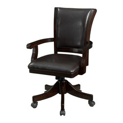 Adarn Inc - Transitional Espresso Upholstered Game Chair with Casters - Bring a cozy and convenient seating option into your entertainment space with this game chair. Crafted with a dark mahogany finish and transitional styling, this chair is upholstered for total comfort. Both the seat and seat back are padded for support, and sturdy arm rests provide additional convenience. Caster wheels make for easy mobility whether you are dining, visiting, or gaming. Pair with the coordinating game table for a classy set.