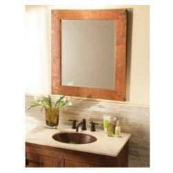 KCK Bathroom Mirrors & Accessories - Large Tuscany Mirror - The Tuscany Rectangle Mirror brings that old world feel to your living space with the unique patina of hand hammered copper and hand forged nails. The Tuscany mirror is a perfect centerpiece for any room in your home. Available at Kitchen Cabinet Kings.