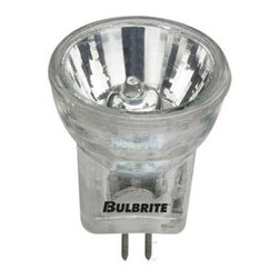 Bulbrite - 20-Watt Halogen Light Bulbs - 10 Bulbs - One pack of 10 Bulbs. 12 V standard GU4 bi-pin base bulb. 10 degrees beam spread. Provides UV protection. Ideal for commercial use in retail displays, showcases or exhibits. Perfect for track, landscape, recessed cans, down lights and landscape. Dimmable. Average hours: 2000. Color rendering index: 100. Color temperature: 2700K. Wattage: 20 watt. Lumens: 1700CP. Maximum overall length: 1.37 in.