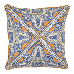 Villa Home - Pair of Cairo Dark Blue Pillows by Villa Home - A magnificent color combination comes together as four corners point inward, each with a regal-like design. Try brightening up a dark brown leather sofa and add some orange and/or blue accents around the space. (VH)