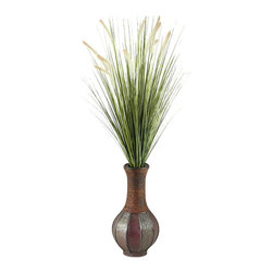 D&W Silks - D&W Silks Tall Onion Grass in Tall Vase - In a unique and charming bottle-shaped wooden vase sets tall onion grass with beige dogstail. Perfect for a low table or for sitting directly onto a floor, this piece can brings warmth and inviting quality to wherever it is. Will ship to you assembled as you see it, and after an initial fluffing out you won't have to worry about care or maintenance for years to come.