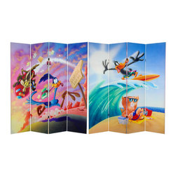 Oriental Furniture - 6 ft. Tall Double Sided Roadrunner and Daffy Duck Canvas Room Divider - Daffy Duck surfing onto Porky Pig's day at the beach; Wile E. Coyote chasing down Road Runner on a skyrocket, classic Looney Tunes comedy, printed on a full size limited edition, practical and portable panel screen partition. Hide a messy work area, divide a work space, shade a picture window or glass door, with this colorful decorative accessory as well as vintage, cartoon animation quality graphic art accent.