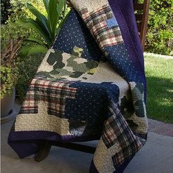 None - Ranger Camouflage Puzzle Quilted Throw - Bordered and printed in a jigsaw pattern, this quilted throw comes preassembled. The quilt is machine quilted in a vermicelli stitch for durability and surface interest and the edges are tightly fabric bound for durability.