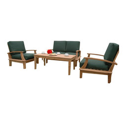 Anderson Teak - Brianna 47 in. Rectangular Coffee Table Set - Unfinished (Canvas - True Blue) - Choose Sunbrella Cushion: Canvas - True Blue. Includes rectangular coffee table, round side table, deep seating loveseat and 2 deep seating armchairs. Comes with Sunbrella cushions. Slat back design chairs. Solid Teak wood construction. Pictured with Linen Black Forest cushion. Minimal assembly required. Coffee table: 47 in. W x 23 in. D x 19 in. H (37 lbs.). Side table: 20 in. Dia. x 15.5 in. H (20 lbs.). Loveseat: 52 in. L x 27 in. W x 32 in. H (70 lbs.). Armchair: 31 in. W x 27 in. D x 32 in. H (57 lbs.)