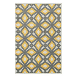 Loloi Rugs - Loloi Rugs Oasis Grey-Lemon Contemporary Indoor / Outdoor Rug X-9332ELYG40-SOISA - Boldly designed and brightly colored, our Oasis Collection transforms any outdoor space into a modern patio paradise.This collection is power loomed in Egypt, ensuring precision in color and design for each and every piece. And because the 100% polypropylene yarns are specially tested to withstand UV rays and rain, it's the perfect all-weather rug.