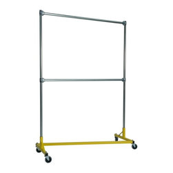 Z Racks - Heavy Duty 5 ft. Double Rail Z-Rack Garment R - Base Color: Yellow. 500lb capacity. 14 gauge, 60 in. Long steel base (Environmentally safe powder coated finish ). 16 gauge, 84 in. upright bars and double hang rails. 1 5/16 outside diameter upright bars and hang rail. Grey non-marking soft rubber with TP center 4 in. casters. Made in the USA. 63 in. L x 23 in. W x 91 in. HThis Z-Rack is designed to hold up to 500 lbs of apparel while maximizing all 5 ft. of length. The vertical hanging space is 7 ft. and because the two rows are placed on top of each other, the rack will not tip under a heavy load. The second hang rail can be placed anywhere desired along the uprights.
