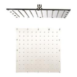 """Aqua - AQUA Brushed Nickel Large Square Shower Head 16"""" X 16"""" - Large Shower Head - 16"""" x 16"""""""