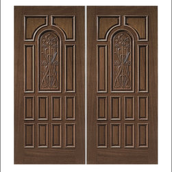 Carved and Mansion Entry Doors Model # 10 - Our Carved and Mansion doors are hand carved by master craftsman.  They will certainly add to the wow factor of any entrance exterior or interior.  The doors are Mahogany and can be stained and finished in a variety of colors to complement your homes beauty.  You may also like our International collection which is inspired by world design.