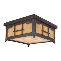 "Troy - Oak Knoll Collection 14"" Wide Outdoor Ceiling Light - From the Oak Knoll Collection by Troy Lighting this country Mission-style outdoor flush mount light is ideal for the rustic iron home decor. Features a hand-forged iron frame with a natural bronze verde wash finish. The iridescent honey glass will give a warm glow to your home. UL listed for damp locations. Takes three 100 watt bulbs (not included). 6 3/4"" high. 14"" wide.  Natural bronze verde wash finish.  Iridescent honey glass.    UL listed for damp locations.   Takes three 100 watt bulbs (not included).   6 3/4"" high.   14"" wide."
