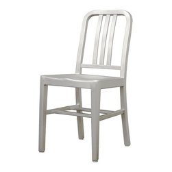 Wholesale Interiors - Modern Cafe Chair in Brushed Aluminum - Set of 2 - There is no reason to restrict contemporary furniture to the indoors - enjoy it al fresco on your deck, patio, or restaurant with the Cafe Chair. The simple design lends itself well to just about any type of setting. Plastic non-marking feet finish off the legs and provide additional stabilization.