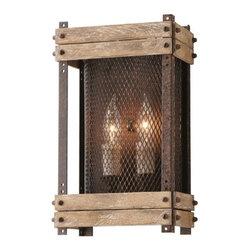 Troy Lighting Merchant Street Rusty Iron with Salvaged Wood Slats Sconce -