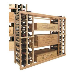 Wine Cellar Innovations - Vintner 3 ft. Wine Case Rack (All-Heart Redwood - Unstained) - Choose Wood Type and Stain: All-Heart Redwood - Unstained. Bottle capacity: 88. Two individual wine display storage columns on both sides. Three open compartments in the center of the rack. Versatile wine racking. Custom and organized look. Can accommodate just about any ceiling height. Wine rack: 45.69 in. W x 13.5 in. D x 35.94 in. H (21 lbs.). Optional base platform: 45.69 in. W x 13.38 in. D x 3.81 in. H (5 lbs.). Vintner collection. Made in USA. Warranty. Assembly Instructions. Rack should be attached to a wall to prevent wobble