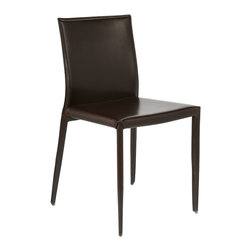 Eurostyle - Shen Side Chair (Set Of 4)-Brn - The holidays aren't the only time your dining room has to look its best. These carefully crafted leather chairs look modern and swanky with a glass table — and more refined and classic with a more traditional wood table.