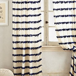 "Anthropologie - Swing Stripes Curtain - Tunnel tab constructionCotton, polyester, nylonDry clean50""WImported"