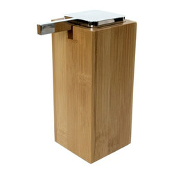 Gedy - Large Wood Wood Soap Dispenser with Chrome Pump - Manufactured in Italy by Gedy, this decorator lotion/soap dispenser works well in contemporary bathrooms. Available in bamboo and made in high quality wood/thermoplastic resins, this soap & lotion dispenser is part of the Gedy Cubico Bamboo collection. De