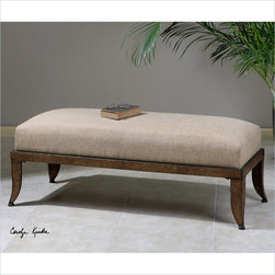 Uttermost Lanrada Upholstered Bench in Copper-Bronze-Antiqued Gold - Uttermost's benches combine premium quality materials with unique high-style design. With the advanced product engineering and packaging reinforcement, uttermost maintains some of the lowest damage rates in the industry. Each product is designed, manufacturered and packaged with shipping in mind.