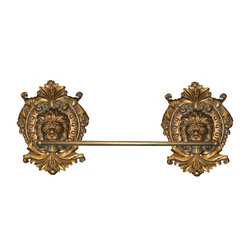Hickory Manor House - Lion Medallion Towel Bar in Antique Gold Fini - Vintage original. Custom made by artisans unfortunately no returns allowed. Enhance your decor with this graceful towel bar. Made in the USA. Made of pecan shell resin. 15 in. L x 12 in. W x 5 in. H (8 lbs.)