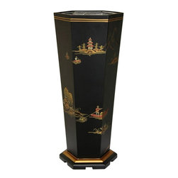 Oriental Furniture - Black Landscape Umbrella Stand - This imported Oriental umbrella stand has been hand painted with traditional landscape and village scenes. Individually handmade with a fine eye for detail, each is a wholly unique piece distinct from any other.  Crafted from fine quality Elm wood, it is finished with a hard matte black lacquer and includes a metal liner for added protection.