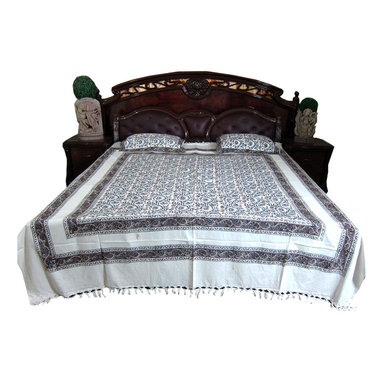 Mogul Interior - White Floral Printed Indian Cotton Tapestry Bedspreads With Pillows, Set of 3 - Handloom Cotton