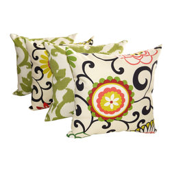 Land of Pillows - Basalto Kiwi Green and Pom Pom Jewel Outdoor Floral Throw Pillow Set of 4, 20x20 - Fabric Designer - Waverly Sun N Shade