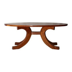 ecofirstart - Anselmo Coffee Table - Make a solid statement in your favorite setting. This curvaceous coffee table is crafted by Rob Taboada of sustainably harvested mahogany with a nontoxic finish — traditional, with an eco-conscious twist.