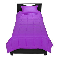 TwinXL - Purple Twin XL Comforter Set By Ivy Union - Enjoy a premium extra long comforter with this luxurious Twin XL Comforter set by Ivy Union. Soft brushed knit fabric shell with baffle box design helps control even temperature dispersion. All season weight comforter with durable double needle edging.