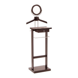 """Winsome Wood - Winsome Wood Storage X-55129 - This Valet stand keeps great organization of your suit, dress shirt, shoes and accessories within reach.  Overall assembled product size is 19.84""""W x 14.96""""D x 55.33""""H.  Sturdy construction with rich espresso finish. Features includes coat/shirt hanger, pant hanging bar, mirror and drawer.  Assembly Required."""