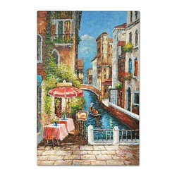 Café by the Cannel - Bright and sunny oil painting depicts a small café by the cannel.  Using heavy impasto, the artist creates vivid scene of perfect summer day.