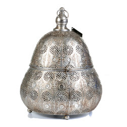 "Concepts Life - Concepts Life Candle Holder Luminous Lace Pear Shaped Lantern Silver - Whether you are preparing for a special occasion or simply want to make a strong statement in your home, our Luminous Lace collection will instantly infuse elegance into your space. Our silver lanterns have ornate details on the surface and beautiful perforated patterns that will let the light from within add warmth and sparkle to any occasion. This magnificent pear shaped large sized lantern comes with an interior glass cup to keep the flame governed. Scent and light eminate form the intricate carvings and are secured by the hand welded retractable top. Complete with a top loop for easy transport onto any surface or for simple hanging nearby. The electroplated finishing process garantees long lasting briliance to this strong, ornately crafted iron piece.  Hanging candle holder Welded from 100% iron Opens via clasp and hinge Includes glass cup for a votive or tealight candle Complete with hanging chain and S hook Beautifully hand-crafted; will have unique bends and asymmetries Dimensions: 10""w x 14""h x 10""d Weight: 1.5 lbs"