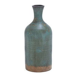 """Benzara - Decorative Terracotta Bottle Vase with Distinctive Pattern - Decorative Terracotta Bottle Vase with Distinctive Pattern. This long green vase offers a perfect contrast for any light colored wall. It comes with a following dimension 8""""W x 8""""D x 18""""H."""