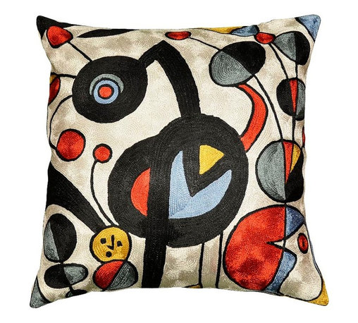 """Modern Silk - Miro Pillow Cover White Garden Hand Embroidered 18"""" x 18"""" - Miro Pillow Cover, expertly handcrafted chain-stitch embroidery with a design inspired by the works of modern artist, Joan Miró. The abstract qualities of this piece, as well as the juxtaposition of primary colors and pastels of this decorative cushion cover, create a vibrant point of interest for your décor. Created of soft Kashmir wool over cotton, this all-natural cover makes an enduring impression."""