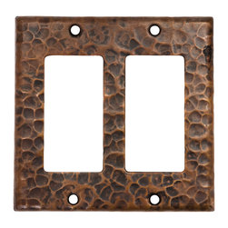 Premier Copper Products - Double Ground Fault/Rocker GFI Switchplate - Copper Double Ground Fault/Rocker GFI Switchplate Cover