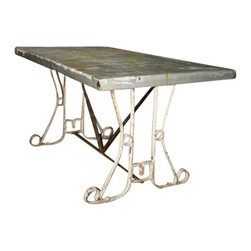 Used Zinc Topped Table with Decorative Metal Base - This cool zinc topped table has a distressed white washed metal base.  What a great combo!  This would be fabulous on a patio or in a kitchen.  Add some mod chairs and you are all set to go.  Could also serve as a neat retail display table!