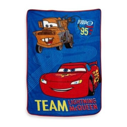 """Disney - Crown Crafts Disney CARS """"Taking the Race"""" Fleece Blanket in Coral - This adorable CARS blanket by Crown Crafts features a racing Lightning McQueen and his friend Mater. It has bold blues and bright reds and is super comfortable and soft."""