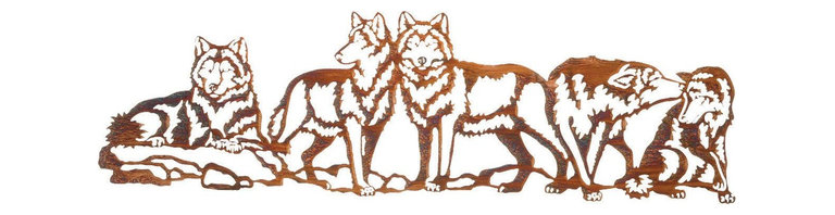 "Lazart - Wolf Wildlife Study in Rustic Metal Art Over Door Hanger - Wolf Wildlife Study in Rustic Metal Art Over Door Hanger. If you enjoy all things wolf, this rustic metal art over door hanger is made just for you. Five delightful poses present a masterful nature study of the wolf depicted in laser cut cold rolled steel. Each finely detailed pose perfectly presents the many sides of the wolf personality. A glowing Honey Pinion finish imparts a special warmth with its golden gleam as it catches the light. Hang this 30""W wildlife metal art over any door or entry way for an instant conversation starter or special addition to your ""all-things-wolf"" collection."
