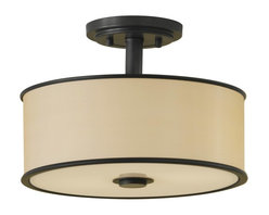 Murray Feiss - Murray Feiss Casual Luxury Semi-Flush Mount Ceiling Fixture in Dark Bronze - Shown in picture: Casual Luxury Semi-Flushmount in Dark Bronze finish with Bronze Oraganza Fabric on Hard Back Shade