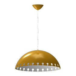 Iris Design Studio Ltd - Quito Ceiling Gold Lamp - This Contemporary pendant lamp is a glamorous design of gold and white. As you can see, the shiny gold of the dome gives a luxurious appeal and the white inner color works as a reflector, and provides a wonderful warm light to your dining table or bedroom.