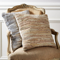 Stitch of Time Throw Pillow - Silver - Tastefully created from recycled scrap leather, the Stitch of Time Throw Pillows add subtle comfort and rich design to any decor. Hand loomed, the pillow's texture will delightfully surprise and soothe you and guests for years to come.