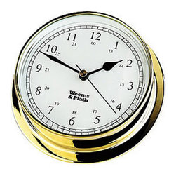 """Weems & Plath Brass Endurance 085 Quartz Clock - AA battery operated, precision German movement. The dial measures 3-3/8"""", the base measures 4-1/8"""" and the depth is 1-1/2""""."""