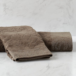 Frontgate - Vienna Jacquard Bath Towel - 100% cotton. Absorbent, quick-drying 500 gsm construction. Border is woven with lustrous Lurex yarns. In Pearl, Sable and Taupe. Reflects the time-honored sophistication of our Traditional European Elegance collection. Elegant damask gains fresh intrigue in our Vienna Jacquard Towel Collection. The unexpected shimmer of a Lurex border catches the eye, while the jacquard woven cotton velour entices with rich dimension and velvety texture.  .  .  .  .  . Made in Portugal.