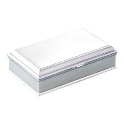 Madison Jewelry Box - 8W x 2H in. - There's room to organize all of your jewelry in the sleek Madison Jewelry Box - 8W x 2H in. by Creative Gifts International. The brushed metal finish won't tarnish. Lined with a soft dark blue flocked cloth, your valuables will be protected. Everything has it's place inside this box that includes three compartments - one for rings. Comes in a white gift box.