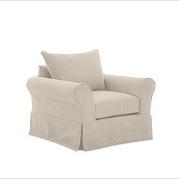 PB Comfort Armchair with Knife-Edge Cushion Slipcover, Washed Linen/Cotton Stone - Designed exclusively for our versatile PB Comfort Collection, these soft, inviting slipcovers retain their smooth fit and remove easily for cleaning. Sofa with Knife-Edge Back Cushions shown. Care varies depending on {{link path='pages/popups/fab_leather_popup.html' class='popup' width='720' height='800'}}fabric type{{/link}}. This item can also be customized with your choice of over 90 custom fabrics and colors. For details and pricing on custom fabrics, please call us at 800.840.3658 or click Live Help above. All slipcover fabrics are hand selected for softness, quality and durability. This is a special-order item and ships directly from the manufacturer. To see fabrics available for Quick Ship and to view our order and return policy, click on the Shipping Info tab above. Watch a video about our exclusive {{link path='/stylehouse/videos/videos/pbq_v36_rel.html?cm_sp=Video_PIP-_-PBQUALITY-_-SUTTER_STREET' class='popup' width='950' height='300'}}North Carolina Furniture Workshop{{/link}}.