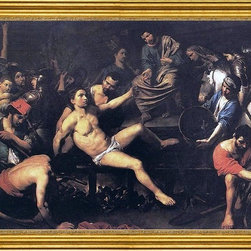 """Valentin De boulogne-18""""x24"""" Framed Canvas - 18"""" x 24"""" Valentin De boulogne Martyrdom of St Lawrence framed premium canvas print reproduced to meet museum quality standards. Our museum quality canvas prints are produced using high-precision print technology for a more accurate reproduction printed on high quality canvas with fade-resistant, archival inks. Our progressive business model allows us to offer works of art to you at the best wholesale pricing, significantly less than art gallery prices, affordable to all. This artwork is hand stretched onto wooden stretcher bars, then mounted into our 3"""" wide gold finish frame with black panel by one of our expert framers. Our framed canvas print comes with hardware, ready to hang on your wall.  We present a comprehensive collection of exceptional canvas art reproductions by Valentin De boulogne."""