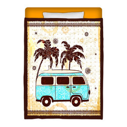 """""""Surf Bus"""" Eco Friendly Made In USA Twin Comforter - Take A Ride Into Your Bed With This Premium """"Surf Bus"""" Twin Size Comforter From Our Surfer Bedding Bed and Bath Collection."""