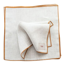 "Non-Perishable Goods - Everyday Linen Napkins Classic Collection Set of 6, 11""x11"", Natural with Mustar - We believe that food tastes better and is more appreciated when accompanied by a cloth napkin! (not to mention creates less waste!)"